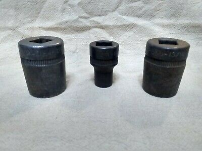 (id#001) 3 RARE DURO INDESTRO D-I 12 point star TAPERED sockets PRE-1935