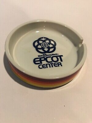 Vintage Walt Disney World Epcot Center Ashtray 80's Rainbow Spaceship Earth
