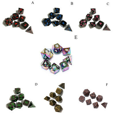 7pcs antique metal polyhedral dice dnd rpg mtg role playing game type Y Ut
