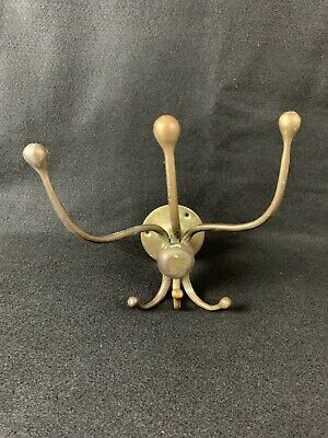 "Antique Brass Coat Hat Diner Rack Wall Mount 3 Small 3 Large Hooks 7"" VTG"