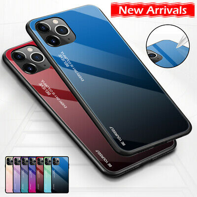Tempered Glass Case For Apple iPhone 11 Pro Max 2019 Gradient Color Phone Cover