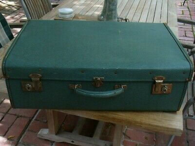 Early Vintage Coated Leather Cloth Suitcase For Display