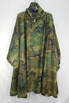 Usmc Issued Surplus Poncho Wet Weather Coated Nylon Woodland Camouflage Usgi