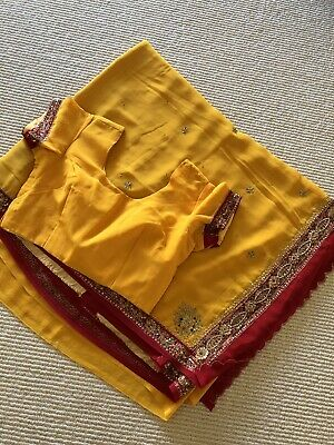 Yellow And Red Georgette Saree With Size 34 Blouse