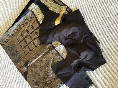 Black And Yellow Silk Saree With Size 46 Blouse