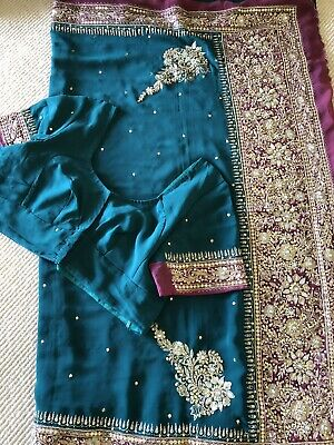 Teal And Pink Georgette Saree With Size 46 Blouse