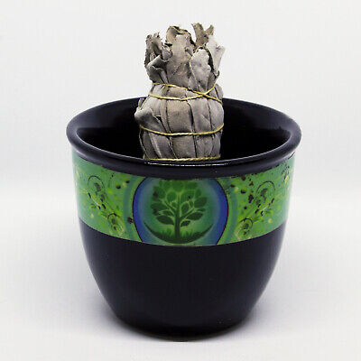Beautiful Black Ceramic Smudge Bowl with Tree of Life * Wicca Pagan
