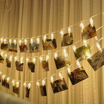 10/40 Photo Window Hanging Peg Clips LED String Lights Home Party Fairy Decor