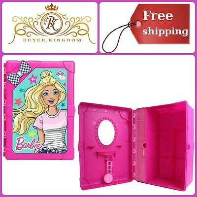 Multi Compartment Storage Case Trunk For Barbie Doll Clothing Accessory Pink NEW