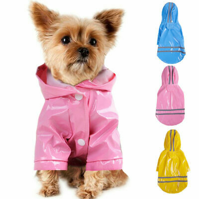 1PC Pet Dog Rain Coat Clothes Puppy Cat Jacket Hooded Outdoor Raincoat