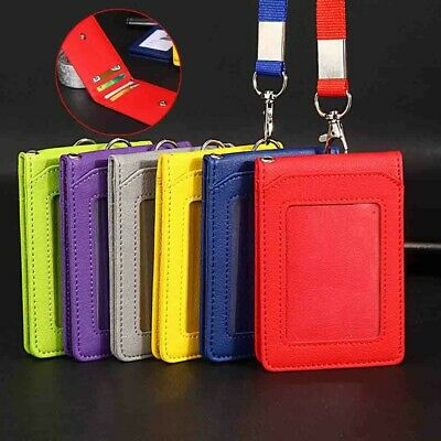 Leather Wallet Offices ID Card Credit/Bank card Badge Holder And Lanyard 5 Slot