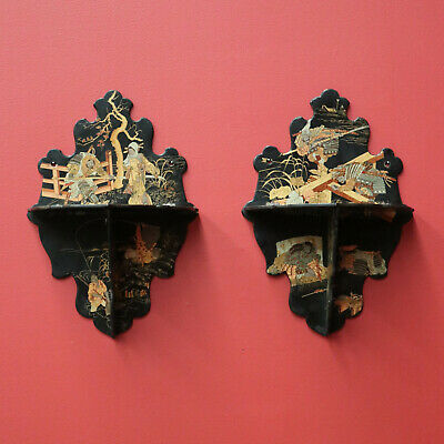 Pair of Antique Japanese Wall Sconce Brackets Wall Shelf for Statue, Chinoiserie