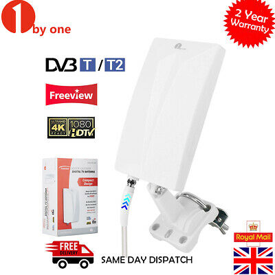 1byone Indoor/Outdoor TV Digital Antenna VHF/UHF/FM Waterproof TV Aerial 80 Mile
