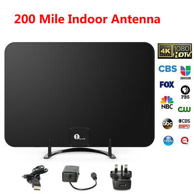 1byone 200 Mile Digital 1080P TV Antenna Amplifier Indoor Amplified HDTV Aerial