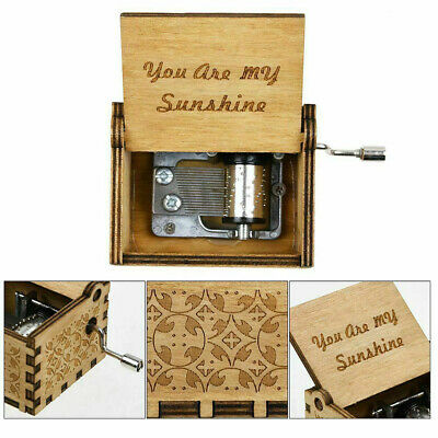 Music Box Wooden Engraved Sunshine Love Mom Dad Kids Gift Christmas