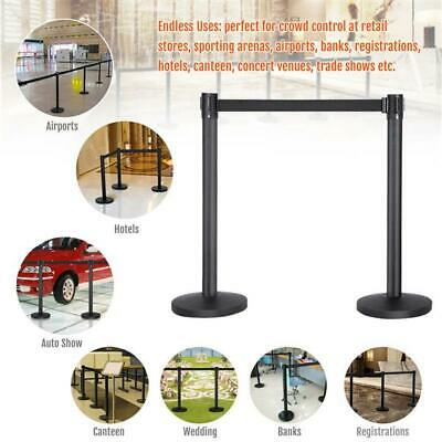 Polished Steel Queue Rope Barrier Black Retractable Rope Stanchion Posts Stand