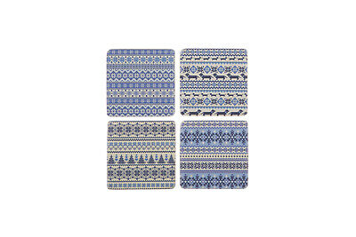 Set 4 French Shabby Chic Ceramic Tile Coasters Nordic Blue Design FREE POST