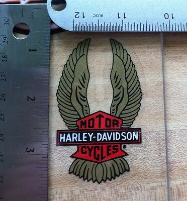 Harley-Davidson Gold Wings Inside Window Decal.Vintage Harley Sticker. 2 X 3.25