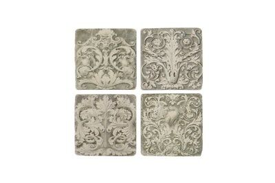 Ceramic Tile Coasters Grecian Vintage Style Set of 4 French Shabby Chic