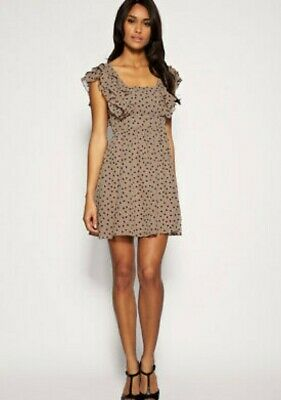 Brand New With Tags Oasis Ruffle Heart Print Dress Size 8