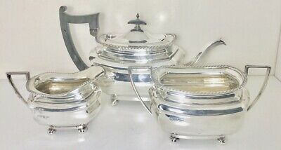 Rare Antique English Sterling solid  silver tea service set ,Chester  , c1906