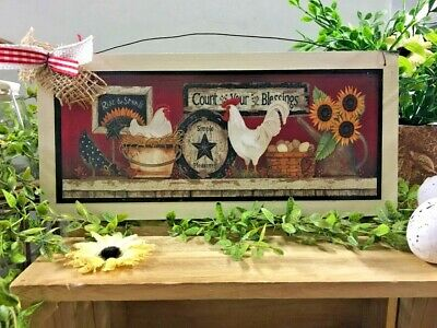Rooster Count Your Blessings Sunflower Fall Home Decor Wooden Wall Wreath Sign