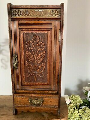 Antique English OAK SMOKERS CABINET -  Arts & Crafts Cigar and Pipe Storage