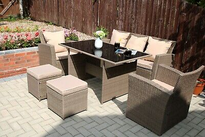 Rosen 7 Seater Conservatory Rattan Garden Dining Table Sofa Set Outdoor Sand