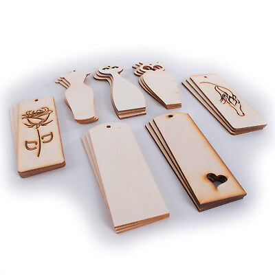Selection of Plain Wooden Bookmarks / Unpainted Craft Shapes Cut Outs Decoupage