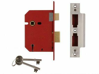 """Union 2101 5 Lever Mortice Door Deadlock 64mm//2.5/"""" Satin Chrome Keyed To Diffe"""