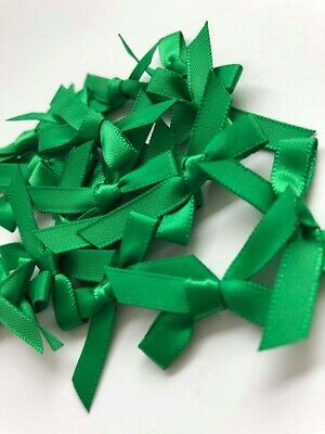 Small Green Satin Ribbon Bow Christmas Pre-Tied Craft Sewing Embellishments