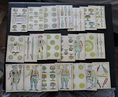 RARE 1800s NAYPES REFINOS ANTIQUE PLAYING CARDS COMPLETE ! HAND COLORED EUROPE !