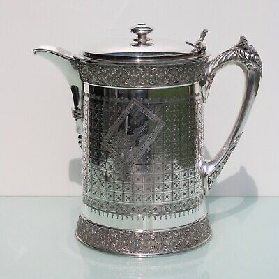 Antique silver plated ice water jug by Meriden and Co