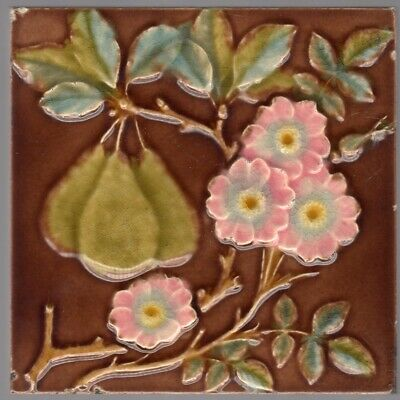 Gibbons, Hinton & Co. c1890-Green Pears & Pink Blossoms - Antique Majolica Tile