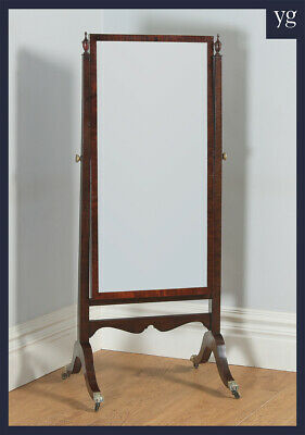 Antique English Georgian Regency Mahogany Floor Standing Cheval Dressing Mirror