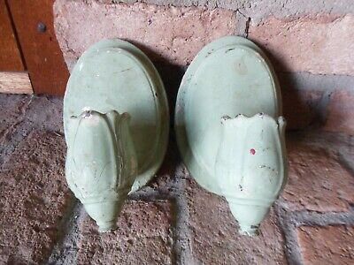 Vintage PAIR OF TULIP SHAPED CAST IRON ARCHITECTURAL SALVAGE LIGHT FIXTURES