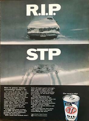 1968 STP Oil Treatment Print Ad RIP STP Winter Mournings Neednt Be