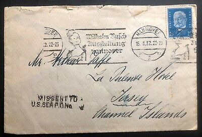 1932 Hannover Germany Missent Cover To Us Sea PO Addressed To Channel Island