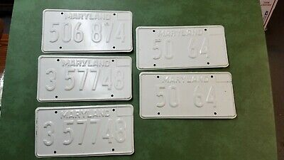 Five Vintage Maryland Pre-Production Run Proof License Plates Pairs No Paint