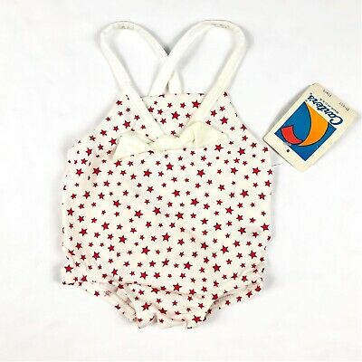 Vintage Carter's White Red Star Print One Piece Bathing Suit Swimsuit Sz 12 Mos