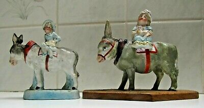 Antique Porcelain Novelty Nodding Head Figure `s  Two Donkeys with girl Riders