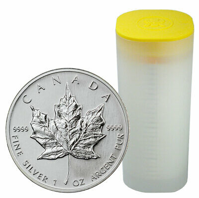 Roll of 25 Random Date Canada 1 oz Silver Maple Leaf $5 GEM BU SKU59328