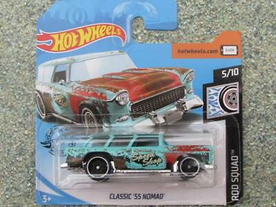 Hot Wheels 2019 #183/250 CLASSIC 1955 chevy NOMAD blue @K