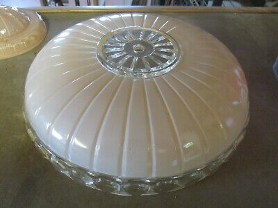 "Vintage 11"" art deco center hole glass shade ceiling light fixture collectable"