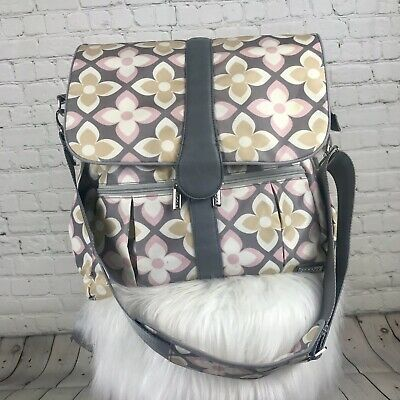 JJ Cole Backpack Knapsack Diaper Bag Pink Gray Taupe Floral With Changing Pad
