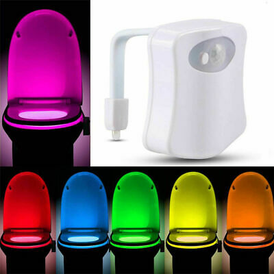 8 Color Toilet Night Light LED Motion Activated Sensor Bathroom Bowl Seat Lamp R