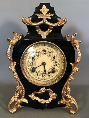 19thC Antique FRENCH VICTORIAN Style NEW HAVEN Old ORMOLU Cast Iron MANTEL CLOCK