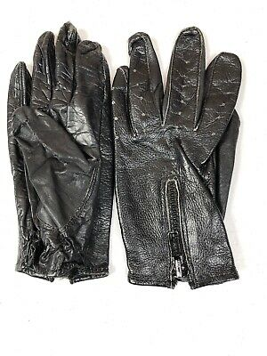 Womens Unbranded Black Leather Driving Gloves Size XS