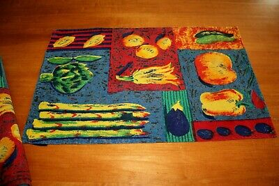 Placemats Authentics Abstract Fruits and Vegetables Cotton Place Mats Set of 6