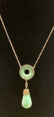 Vintage Asian 14k Gold Moss in Snow Jade Jadeite Pendant Necklace Scrap or Wear